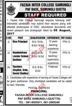 Fazaia Inter College Samungli PAF Base Jobs