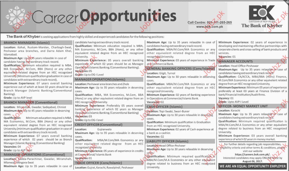 Bank of Khyber Career Opportunities