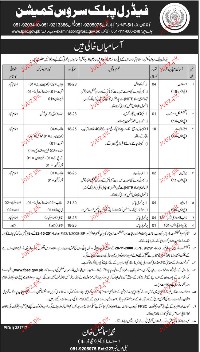 Federal Public Service Commission FPSC Clerical Jobs