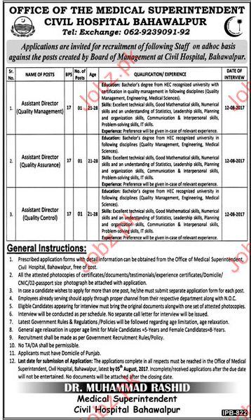 Assistant Director Jobs In Civil Hospital Bahawalpur