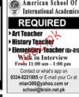 Art Teachers, History Teachers Job Opportunity
