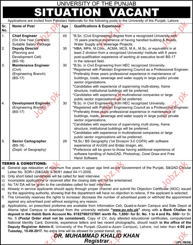 Chief Engineer Jobs In University Of The Punjab  Jobs Pakistan