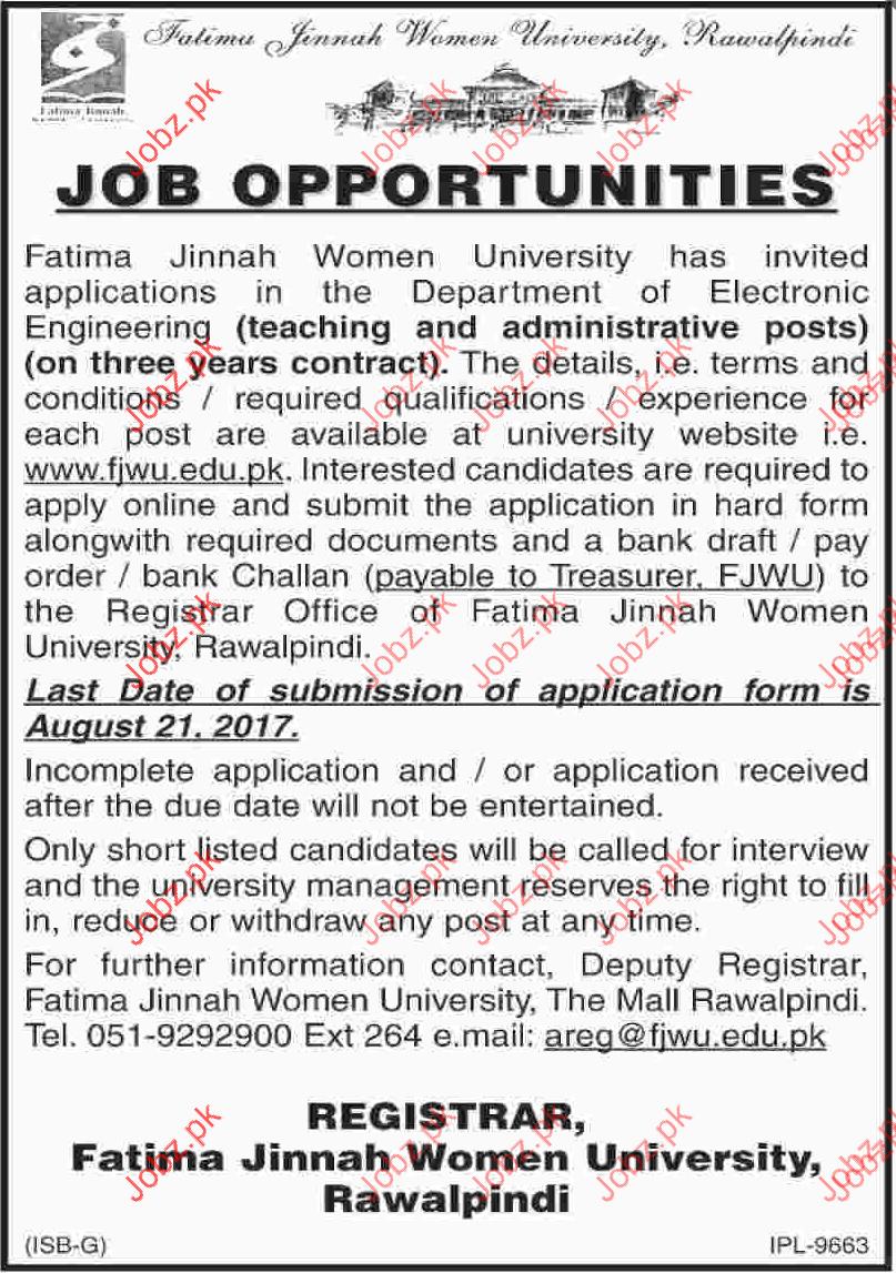 Fatima Jinnah Women University Required Teaching Staff