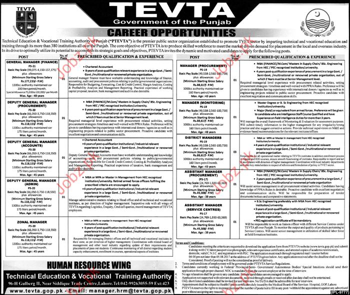 Management Jobs in Technical Education Vocational Training