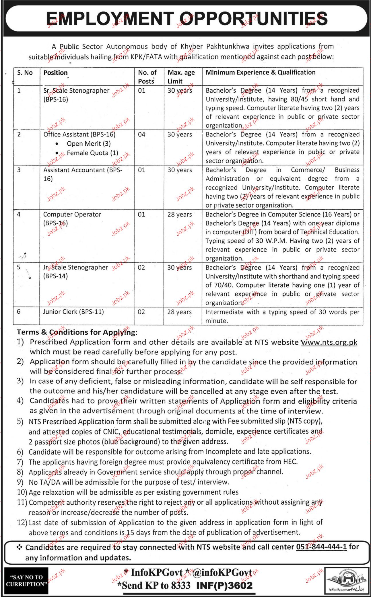 Senior Scale Stenographers, Office Assistant NTS Jobs