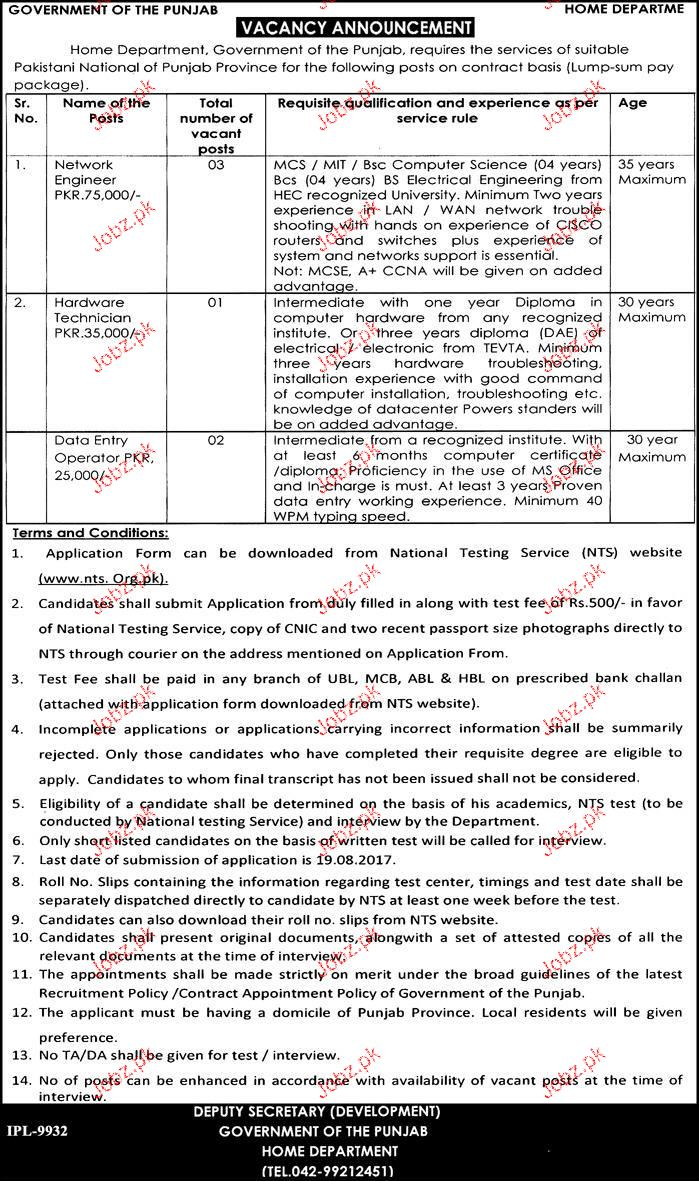 Home Department, Government of the Punjab NTS Jobs