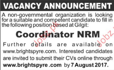 Coordinator NRM Required For NGO