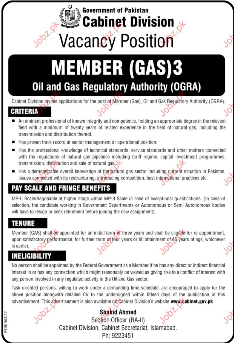 Cabient Division Required member Oil & Gas Requlatory