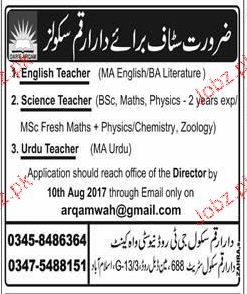 English Teachers, Science Teachers Job Opportunity