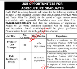 Producer Unit Manager and Field Facilitators Job Opportunity