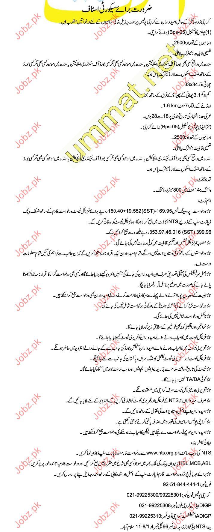 Karachi Police Constable Job Opportunities