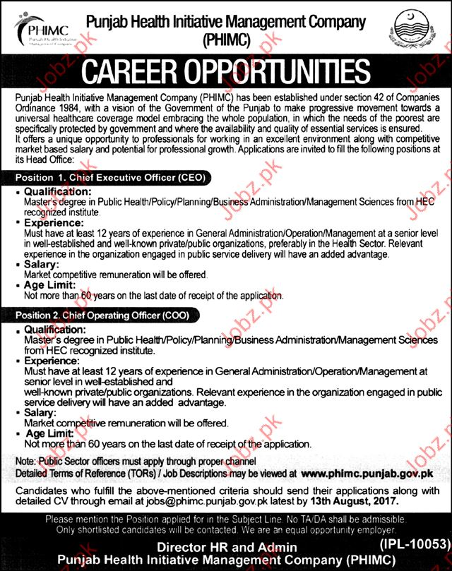 Punjab Health Initiative Management Company PHIMC Careers