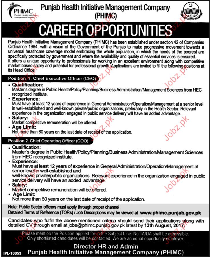 Punjab Health Initiative Management Company PHIMC Jobs