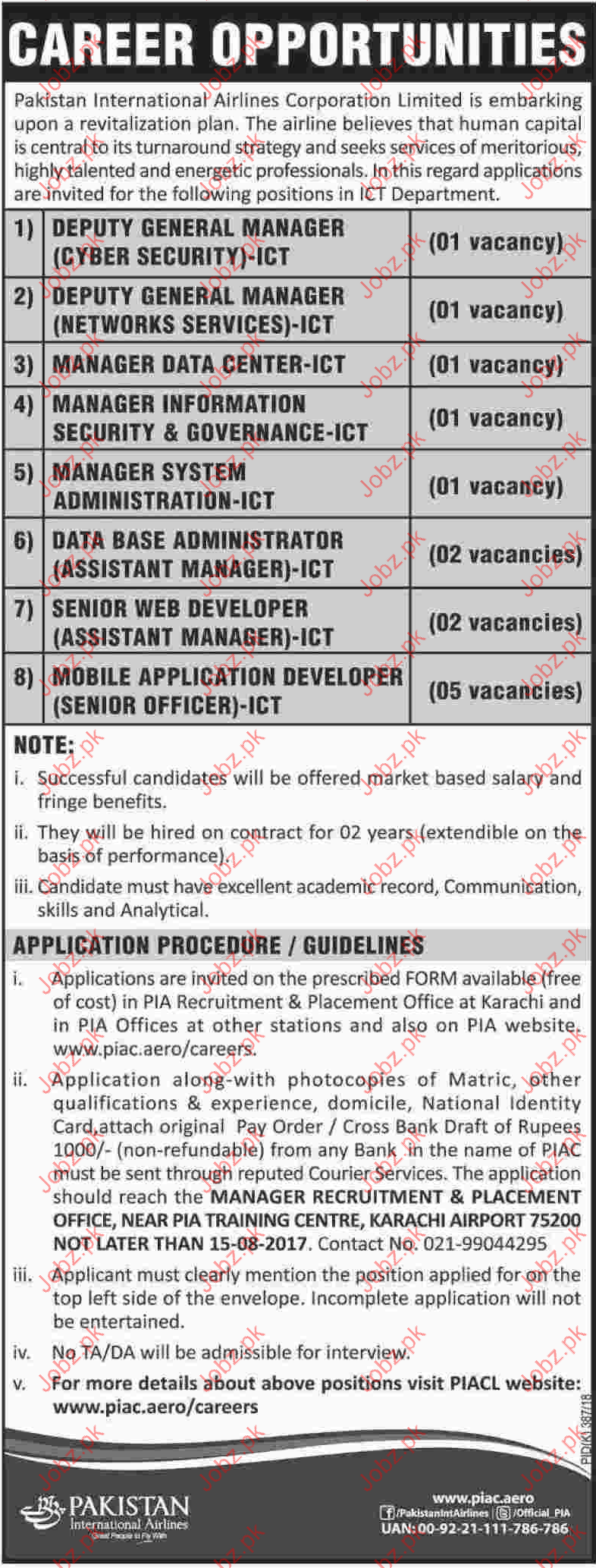 Pakistan International Airlines Corporation Jobs