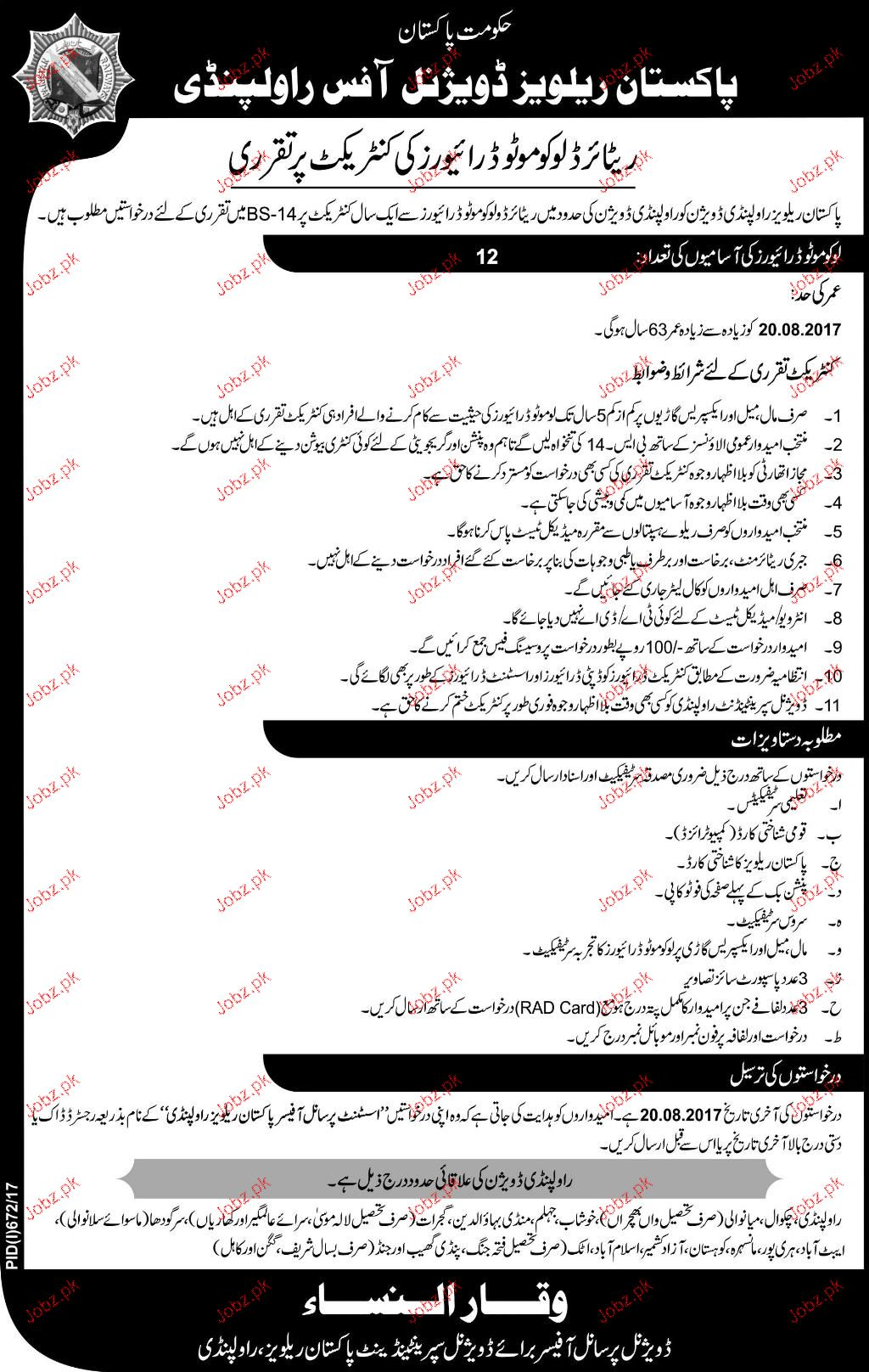 Pakistan Railways Divisional Office Jobs