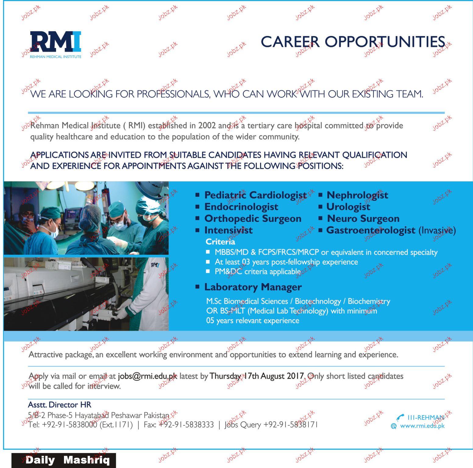 Pediatric Cardiologists, Urologists Job Opportunity