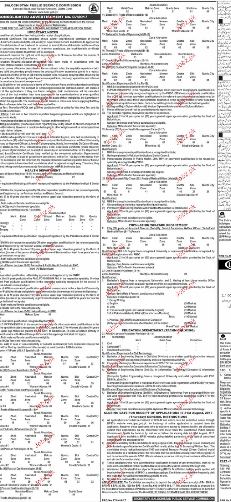 Balochistan Public Service Commission BPSC Jobs