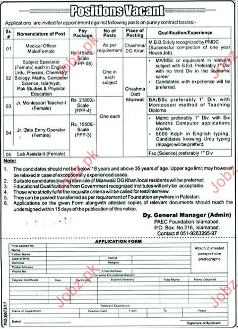 Jobs In PAEC Foundation Islamabad