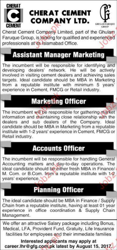 Assistant Manager Required for Cherat Cement Company