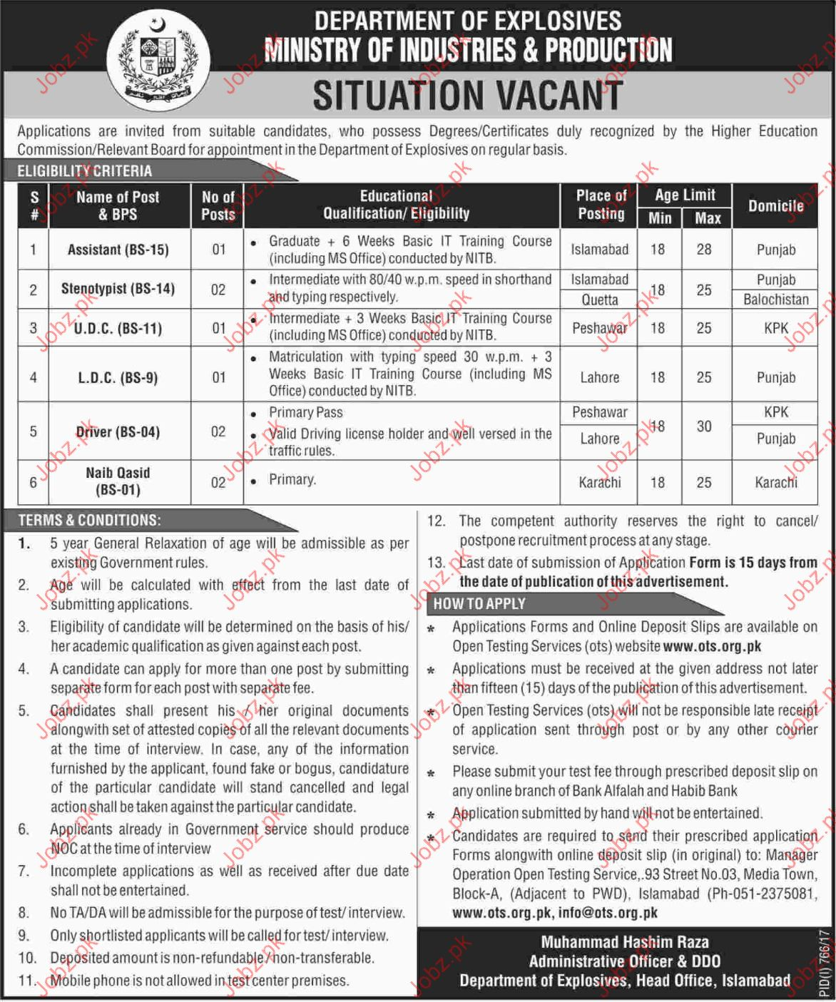 Ministry of Industries and Production MIP Job Opportunities