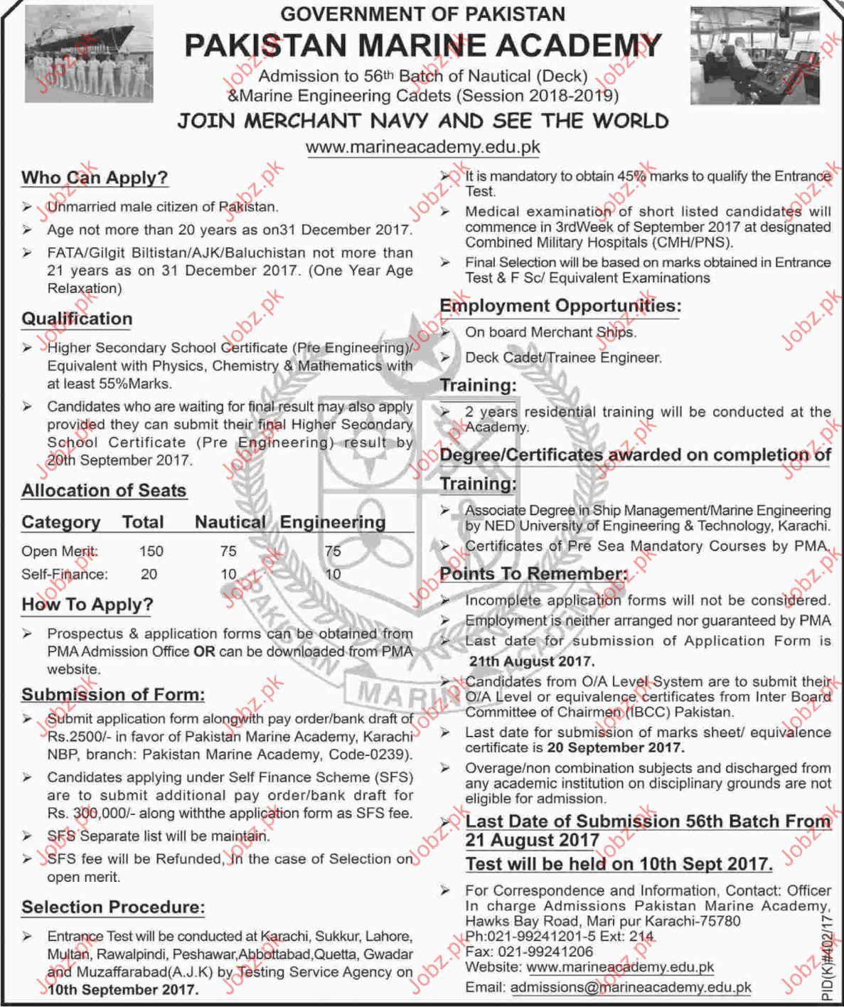 Pakistan Marine Academy PMA Job Opportunities