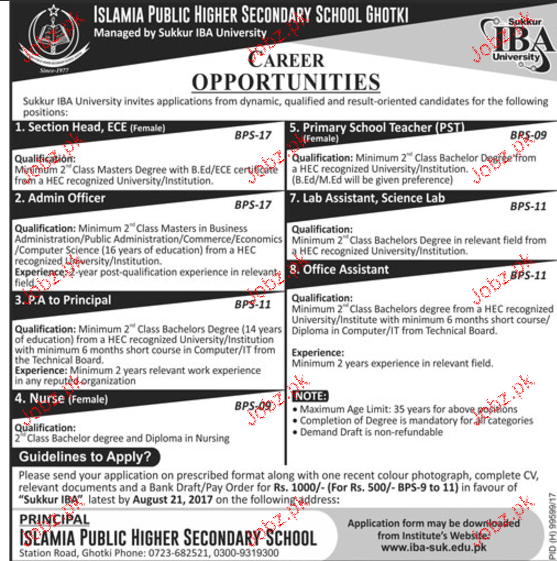 Islamia Public Higher Secondary  School Jobs