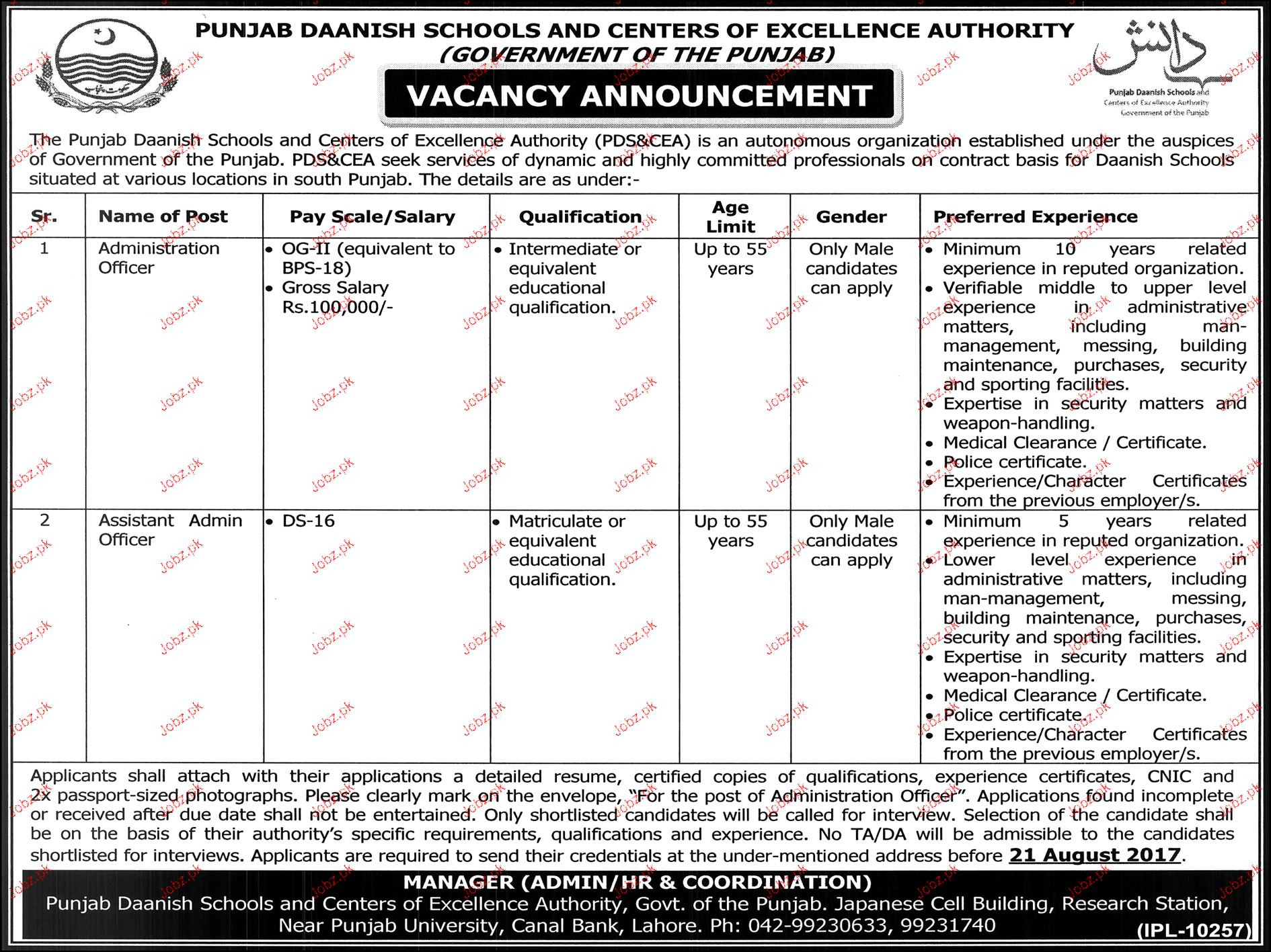 Punjab Daanish Schools & Centers Excellence Authority Jobs