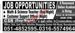Teachers and Call Center Staff Job Opportunity