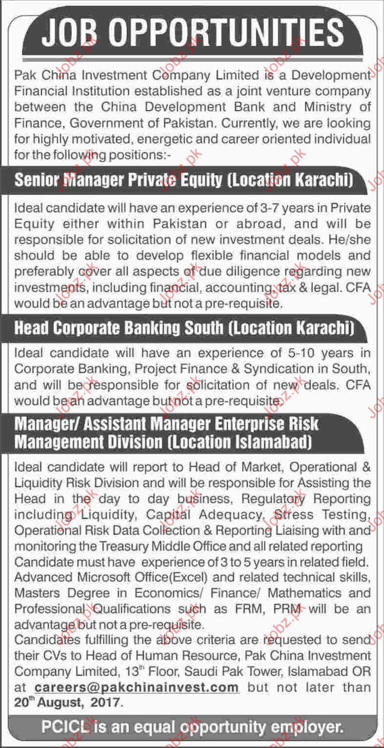 Pak China Investment Company Required Senior Manager 2019