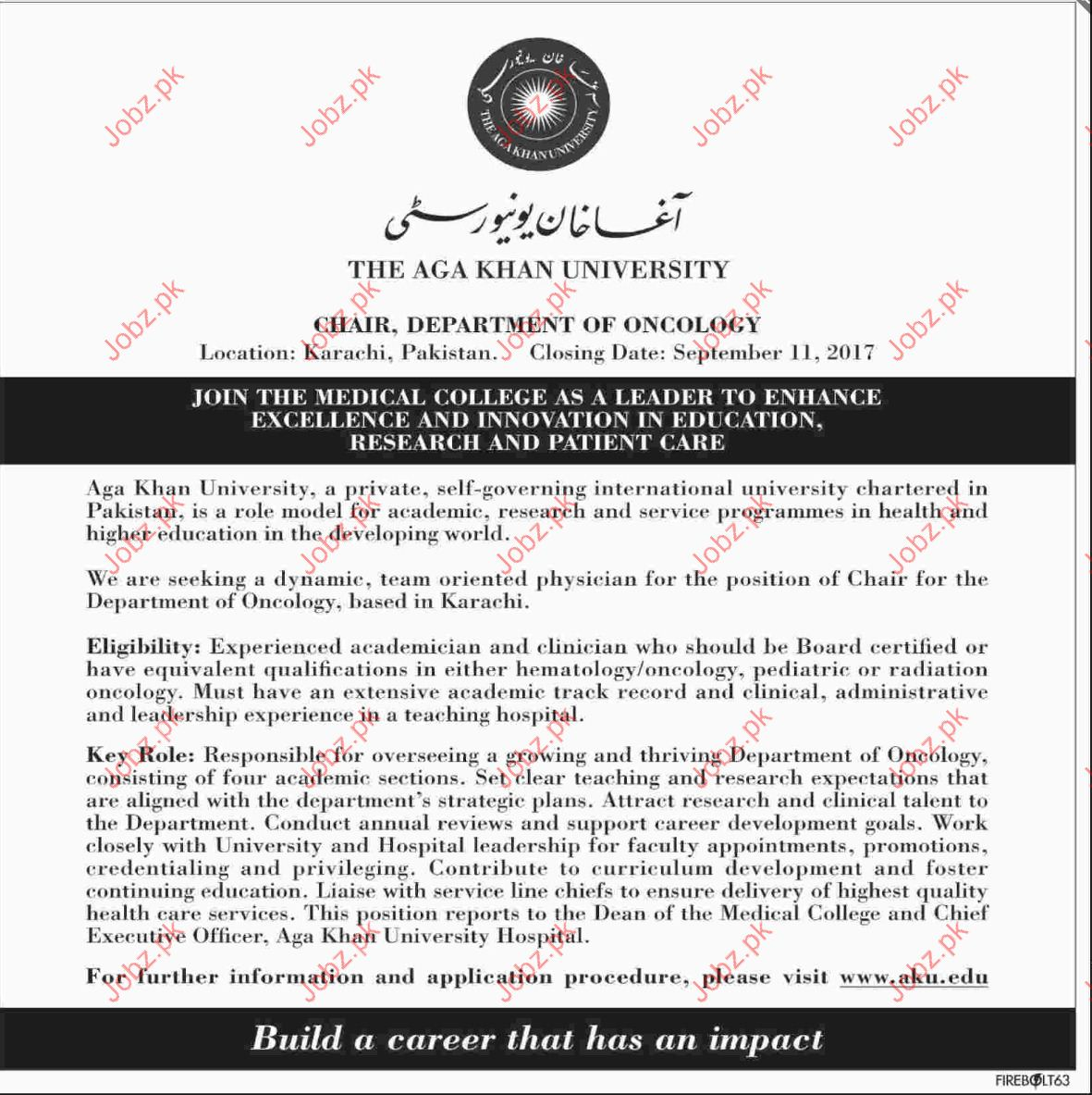 Chir for Oncology Department Jobs In Agha Khan University