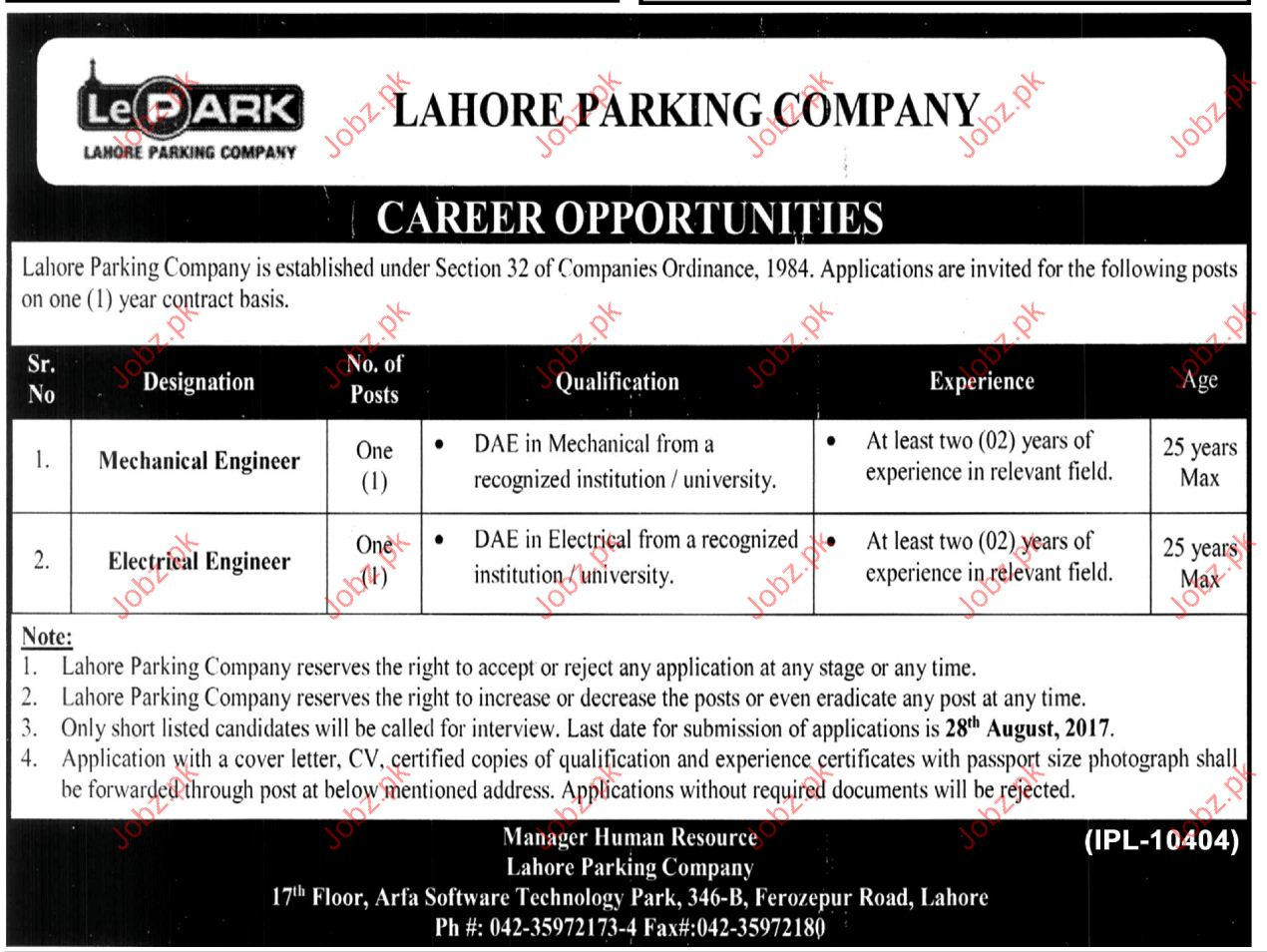 Lahore Parking Company Required Mechanical Engineer