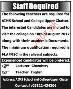 Teaching Staff Required for AIMS School & College