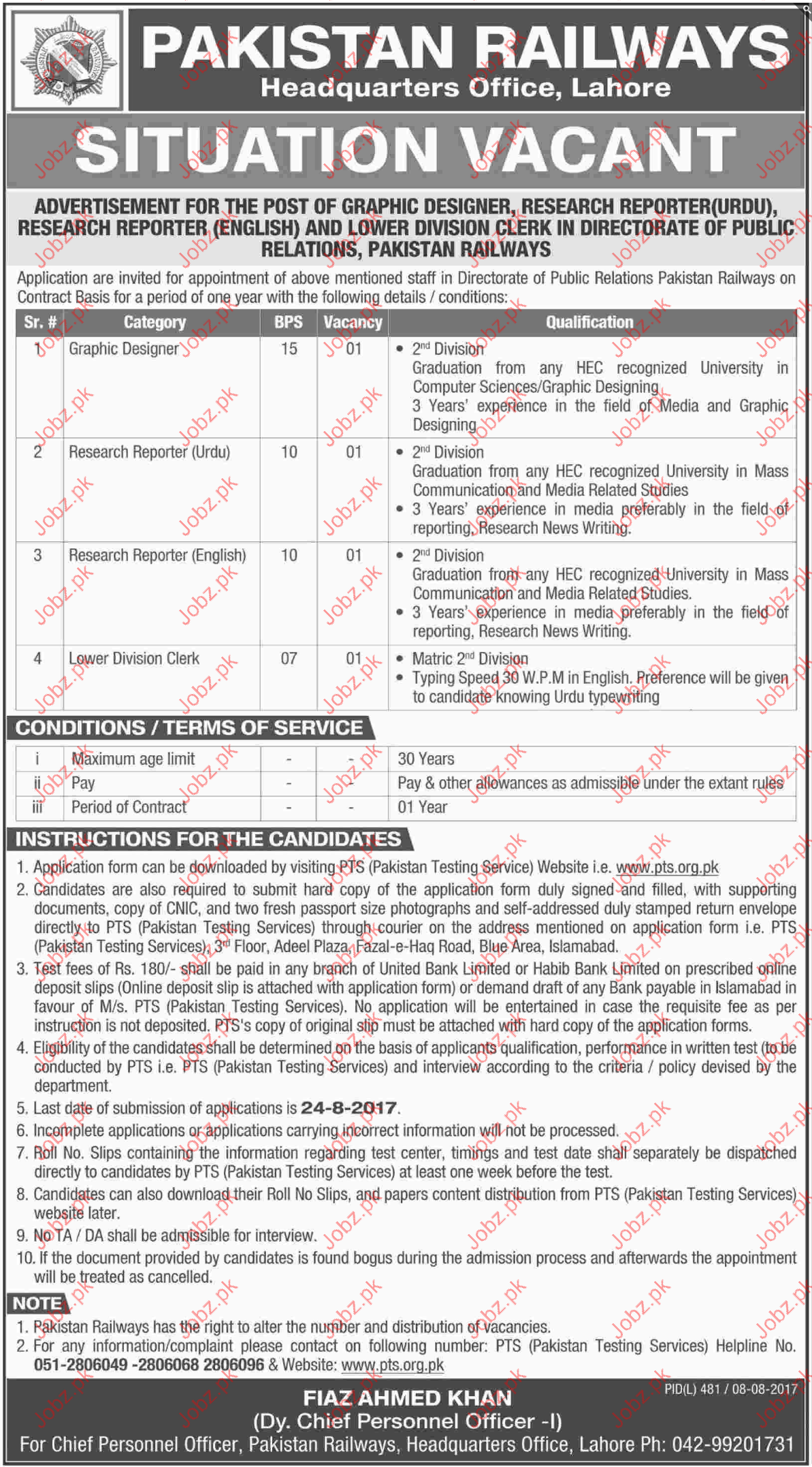 Pakistan Railways Headquarter Jobs
