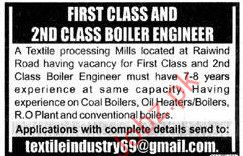 Boiler Eingineers Required