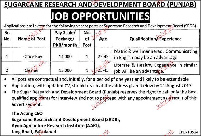 Sugarcare Research and Development Board Jobs