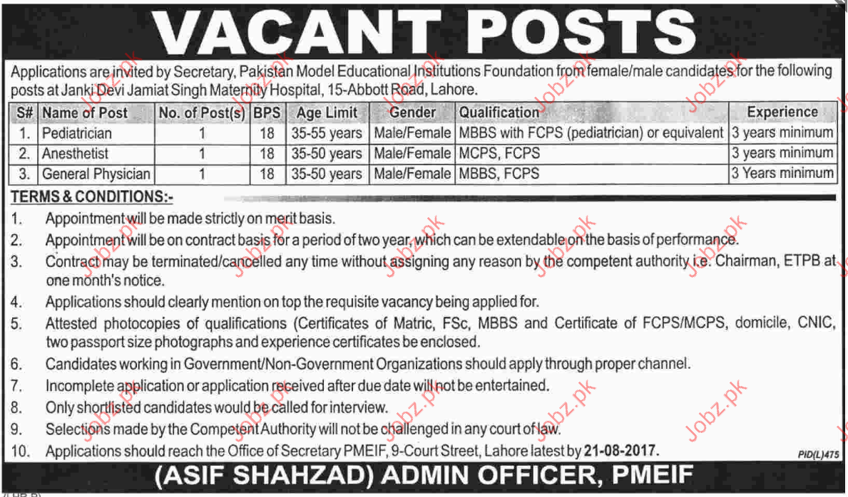 medical jobs in pakistan model educational institution 2019 job advertisement pakistan