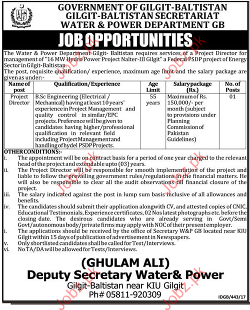 Water & power Department Required Project Director