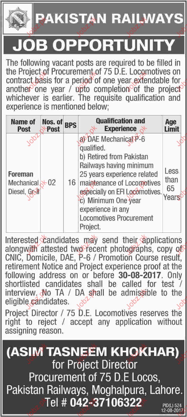 Pakistan Railways Required Foreman Mechanical Diesel