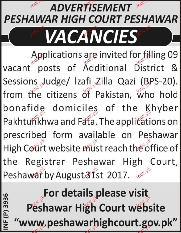 Peshawar High Court  Peshawar Jobs