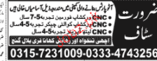 CNC Workshop Foreman, CNC Workshop Quality Checker Wanted