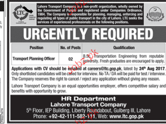 Lahore Transport Company LTC Career Opportunity