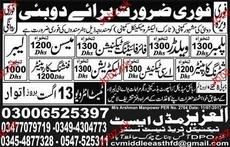 Welders, Fireman, Car Plumbers, AC Technicians Wanted
