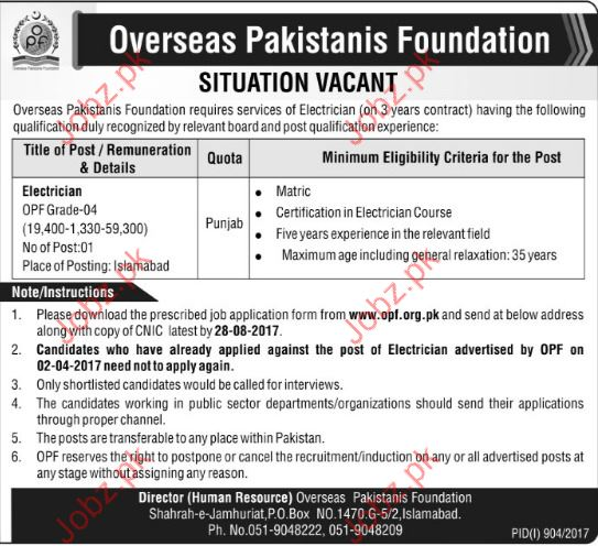 Overseas Pakistanis Foundation OPF jobs