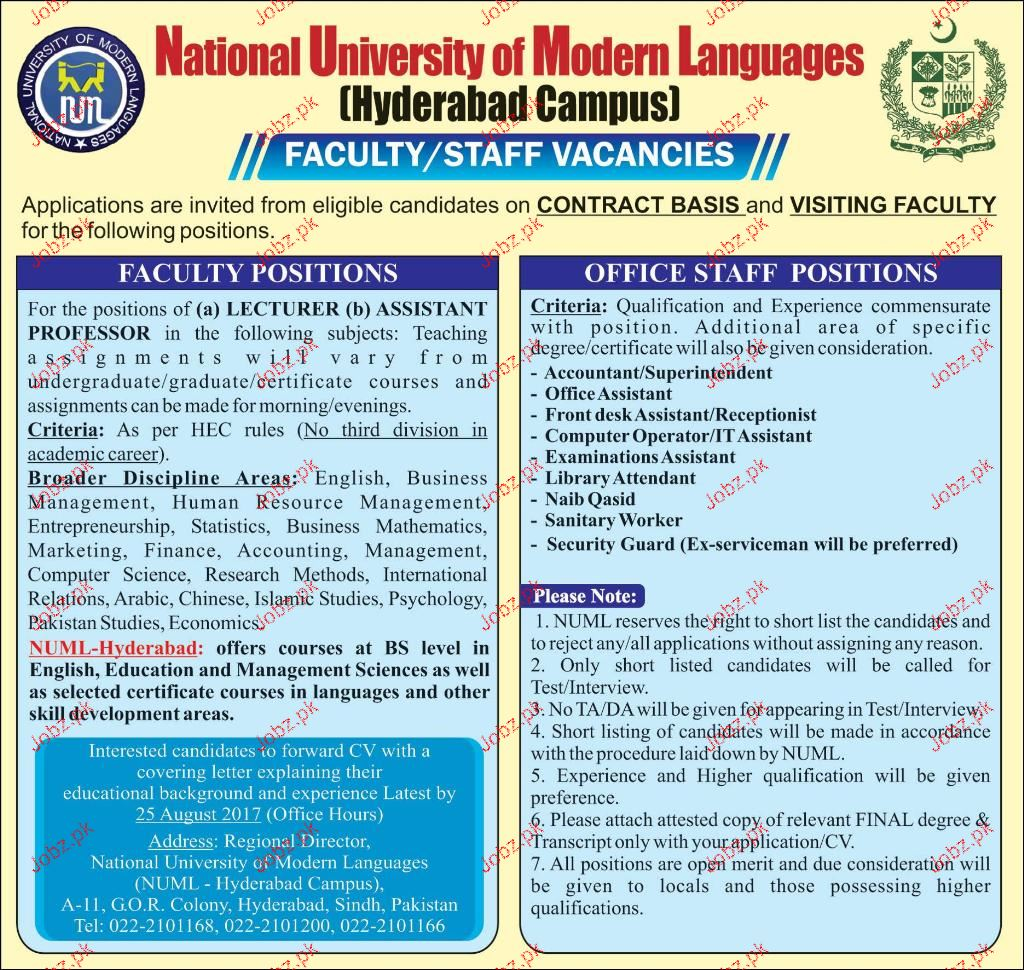 National University of Modern Languages NUML Jobs 2017