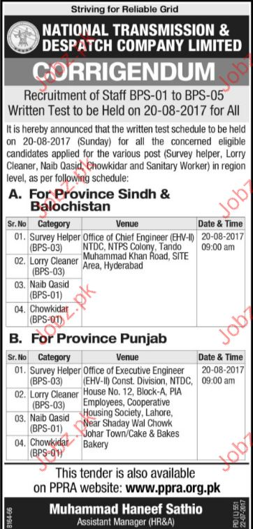 National Transmission & Dispatch Company Jobs Opportunity
