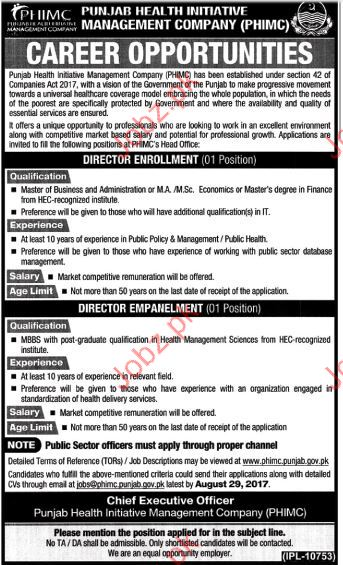 Punjab Health Initiative Management Company Director Jobs