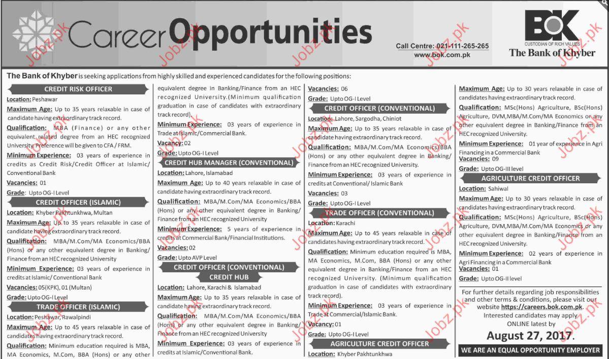 Bank of Khyber Job Opportunity