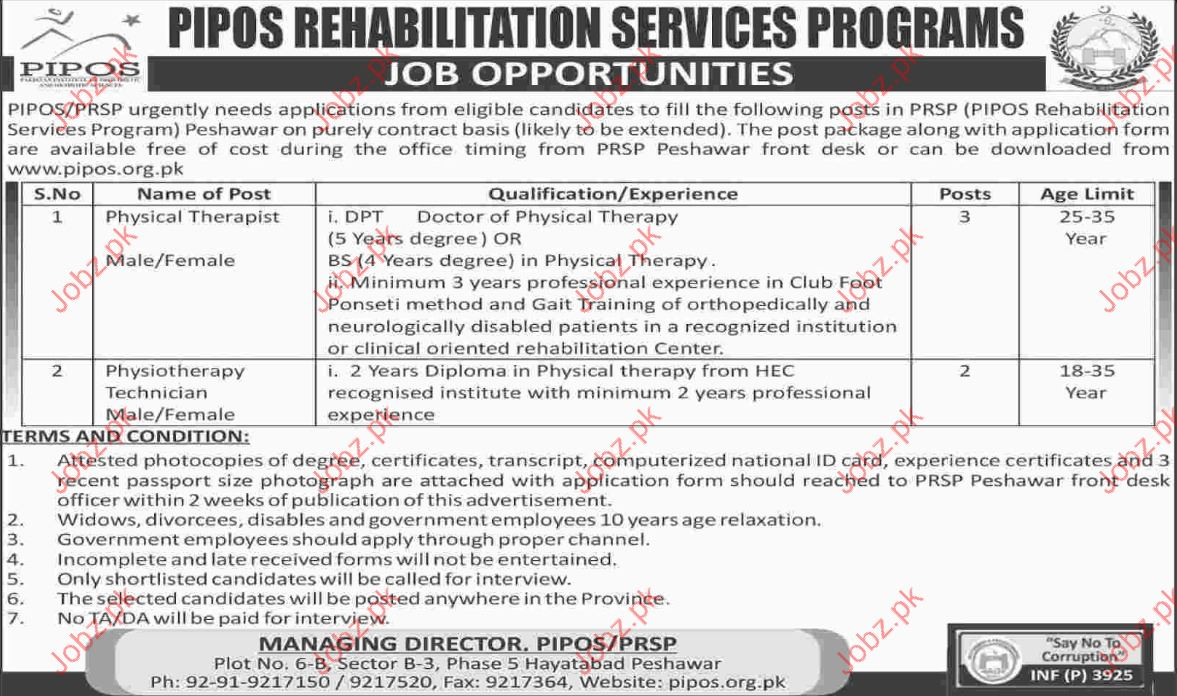 PIPOS Rehabilitation Services Job Opportunity