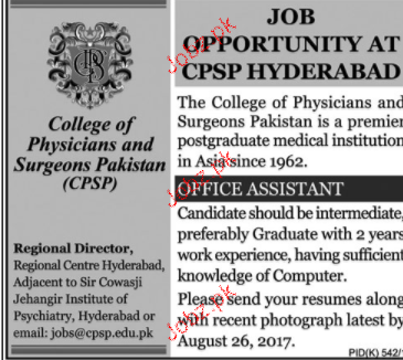 College of Physicians and Surgeons of Pakistan CPSP Jobs
