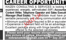 Accountant, Content Writers, Telephone Operators Wanted
